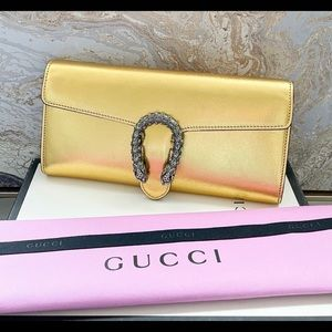 Gucci Gold Dionysus Crystal Shimmer Leather Clutch